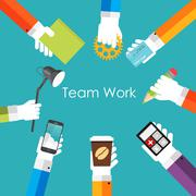 Team Work Flat Concept Vector Illustration Piirros