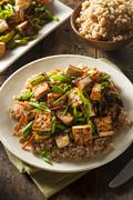 homemade tofu stir fry - stock photo