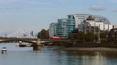 Battersea Bridge real time wide pan 4K Stock Footage