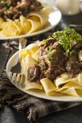 homemade hearty beef stroganoff - stock photo