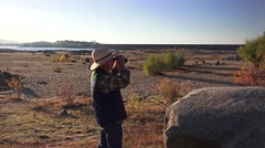 Folsom Lake , binoculars, drought Stock Footage