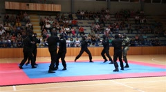 Special Military Forces Preforming Martial Arts Unarmed, Spraring, Hand to Hand - stock footage