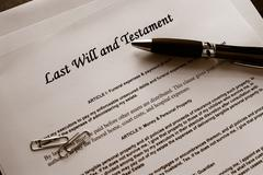 Last will and testament documents with misc items Stock Photos