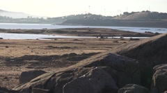 Folsom Lake , Boulders on the dry lake bed Stock Footage