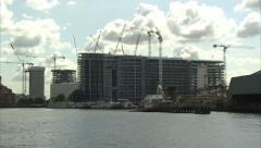 Industrial, Building and Residential Sites on River Thames Bank (Near Battersea) Stock Footage
