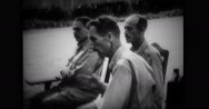 Edward Postell King sitting with officers Stock Footage