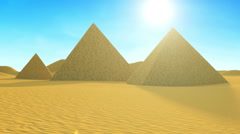Animation of Ancient Pyramid in Desert with Sunlight - stock footage