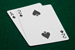 Ace and Deuce of Spades - stock photo