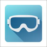 Flat icon with Classic old school snowboard ski goggles. - stock illustration