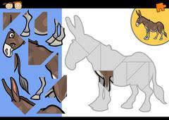 cartoon farm donkey puzzle game - stock illustration