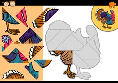 Cartoon farm turkey puzzle game Stock Illustration
