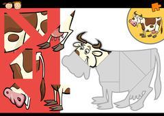cartoon farm cow puzzle game - stock illustration