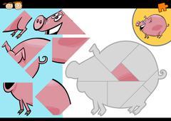 Stock Illustration of cartoon farm pig puzzle game