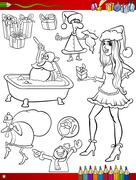 Stock Illustration of christmas themes coloring page