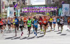 Bloomsday Fun Run 2014 Men's Elite Leaders Pack Stock Photos