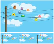 cartoon birds - stock illustration