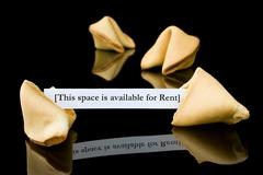 "Fortune cookie: ""This space is available for Rent"" Stock Photos"