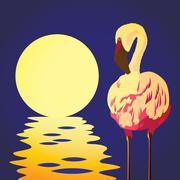 flamingo in the sun - stock illustration