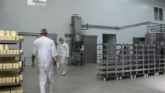 Factory For Production Of Cheese Pan Shot 30Fps - stock footage
