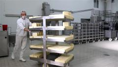 Factory For Production Of Cheese 30Fps Pan Tracking Shot Stock Footage
