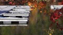 Docks on glassy water Stock Footage