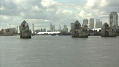 Passing Through Thames Barrier Mixed Shots - stock footage