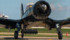 F-4U Corsair Taxi In - stock footage