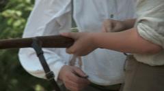 WW1 Father teaching Son gun 1 Stock Footage