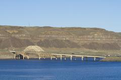 i-90 bridge over the columbia river gorge in central washington state - stock photo