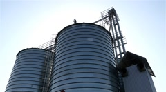 Shiny Grain Wheat Silo Sunny HD Stock Footage