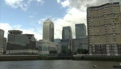 Stock Video Footage of Canary Wharf Reveal Tracking Shot