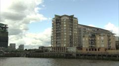 Riverside Buildings Near Canary Wharf - stock footage