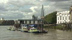 Metropolitan Police Boat Station Tracking Shot Stock Footage