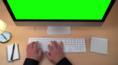 Home office green screen computer 2/4 4k Stock Footage
