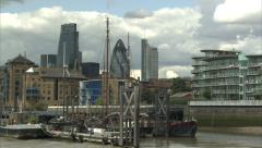 Moored Boats on River Thames Stock Footage