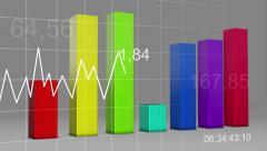 Multi Color Chart Bar Statistic 3D Loop - 4K Ultra HD UHD Stock Footage