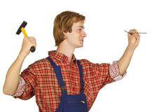 Carpenter with Nails - stock photo