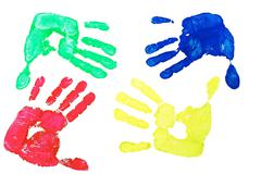 Imprint hands - stock photo