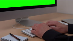 Home office green screen computer 3/4 4k Stock Footage