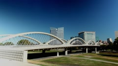 Fort Worth 7th street Bridge Time lapse w/ skyline and clear blue sky Stock Footage