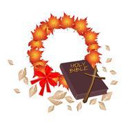 Stock Illustration of Holy Bible with Christmas Wreath of Orange Maple