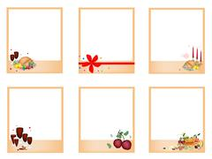 set of photos withtraditional christmas dinner - stock illustration