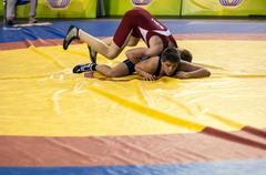 youth competitions on sporting wrestling - stock photo