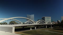 Fort Worth 7th street bridge w/ traffic on sunny day Stock Footage