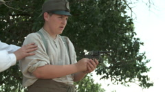 WW1 Father teaching Son gun 4 Stock Footage