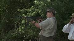 WW1 Father teaching Son machine gun 3 Stock Footage
