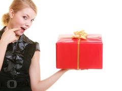 Holidays love happiness concept - girl with gift box Stock Photos