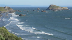 Harris Beach, Brookings, Oregon (zoom out) Stock Footage