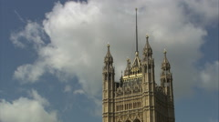Houses of Parliament Tower Closeup Tracking Shot Stock Footage