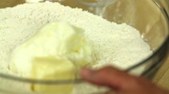 Mixing a pie crust Stock Footage